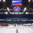 MAGNITOGORSK, RUSSIA - APRIL 20: The Russian national anthem is performed during the opening ceremony of the 2018 IIHF Ice Hockey U18 World Championship. (Photo by Steve Kingsman/HHOF-IIHF Images)
