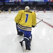 MAGNITOGORSK, RUSSIA - APRIL 21: Sweden's Olof Lindbom #1 looks on during warm ups prior to preliminary round action against Belarus at the 2018 IIHF Ice Hockey U18 World Championship. (Photo by Steve Kingsman/HHOF-IIHF Images)