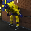 MAGNITOGORSK, RUSSIA - APRIL 28: Sweden's Oskar Back #11 looks on in the hallway prior to semifinal round action against team Finland at the 2018 IIHF Ice Hockey U18 World Championship. (Photo by Andrea Cardin/HHOF-IIHF Images)